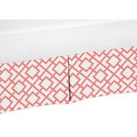 Sweet Jojo Designs Mod Diamond Crib Skirt in White/Coral