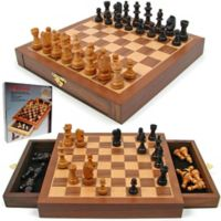 Hey! Play! Inlaid Walnut-Style Magnetized Chess Game Set