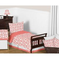 Sweet Jojo Designs Mod Diamond 5-Piece Toddler Bedding Set in White/Coral