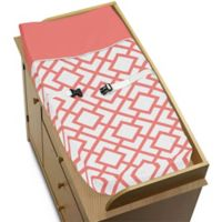 Sweet Jojo Designs Mod Diamond Changing Pad Cover in White/Coral