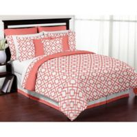 Sweet Jojo Designs Mod Diamond 3-Piece Full/Queen Comforter Set in White/Coral
