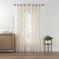 Marco Geo Sheer 108-Inch Grommet Top Window Curtain Panel in Linen