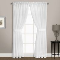 Summit Sheer Voile 84-Inch Rod Pocket Window Curtain Panel Pair in White