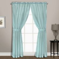 Summit Sheer Voile 63-Inch Rod Pocket Window Curtain Panel Pair in Light Blue