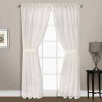 Summit Sheer Voile 84-Inch Rod Pocket Window Curtain Panel Pair in Egg