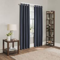Sebastian 63-Inch Grommet Room Darkening Window Curtain Panel in Navy