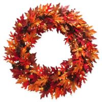 National Tree Company® 36-Inch Pre-Lit Maple Wreath with Clear Lights