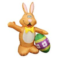 Northlight 48-Inch Inflatable Illuminated Easter Bunny and Egg Lawn Character