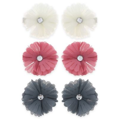 Buy flower hair accessories from bed bath beyond capelli new york 6 pack chiffon and gem flower hair clips mightylinksfo