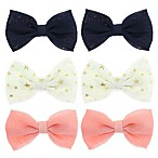 Capelli New York 6-Pack Solid and Metallic Bow Hair Clips