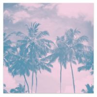 Hazy Palm 24-Inch Square Canvas Wall Art in Pink