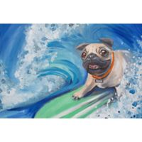 Marmont Hill Surfing Pug 30-Inch x 20-Inch Canvas Wall Art