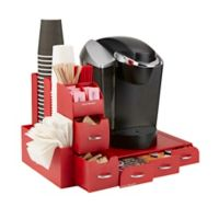 Mind Reader Combine 2-Piece Coffee Drawer and Condiment Caddy in Red
