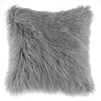 Flokati Faux Fur European Throw Pillow in Silver