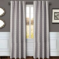 Sawyer Geo 84-Inch Rod Pocket/Back Tab Window Curtain Panel in Grey
