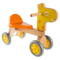 Happy Trails Walk and Ride Wooden Push Ride-On Giraffe in Orange