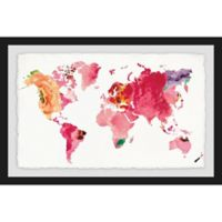 Marmont Hill Floral Map 30-Inch x 20-Inch Framed Wall Art