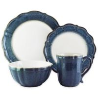 American Atelier Camilla Scallop 16-Piece Dinnerware Set in Blue