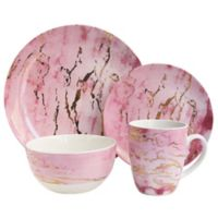 American Atelier Marble 16-Piece Dinnerware Set in Pink/Gold