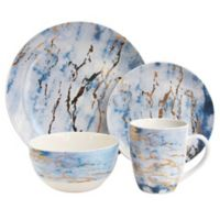 American Atelier Marble 16-Piece Dinnerware Set in Blue/Gold