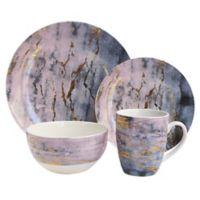 American Atelier Marble 16-Piece Dinnerware Set in Purple/Gold