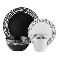 American Atelier Aylin 16-Piece Dinnerware Set in Black/White