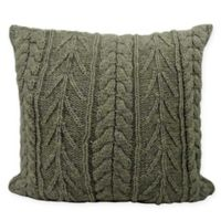 Cozy Sweater Square Pillow in Taupe