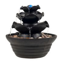 Pure Garden Cascading 3-Tier LED Fountain in Black with Pump