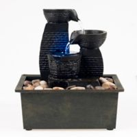 Pure Garden 3-Tiered LED Jug Fountain in Brown with Pump