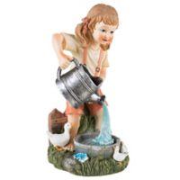 Pure Garden Solar LED Light Little Girl Statue