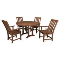 POLYWOOD® Vineyard 5-Piece Nautical Trestle Patio Dining Set in Teak