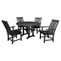 POLYWOOD® Vineyard 5-Piece Nautical Trestle Patio Dining Set in Black