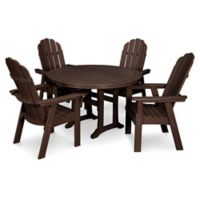 POLYWOOD Vineyard Adirondack 5-Piece Nautical Trestle Dining Set in Mahogany