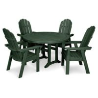 POLYWOOD Vineyard Adirondack 5-Piece Nautical Trestle Dining Set in Green