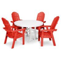 POLYWOOD Vineyard Adirondack 5-Piece Nautical Trestle Dining Set in Red/White