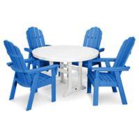 POLYWOOD Vineyard Adirondack 5-Piece Nautical Trestle Dining Set in Blue/White