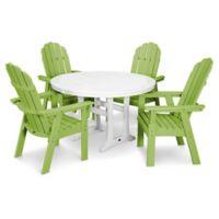 POLYWOOD Vineyard Adirondack 5-Piece Nautical Trestle Dining Set in Lime/White