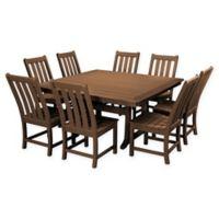 POLYWOOD® Vineyard 9-Piece Patio Dining Set in Teak
