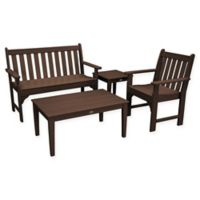 POLYWOOD® Vineyard 4-Piece Patio Bench Seating Set in Mahogany