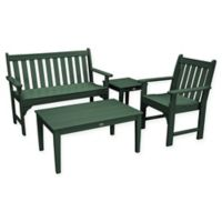 POLYWOOD® Vineyard 4-Piece Patio Bench Seating Set in Green
