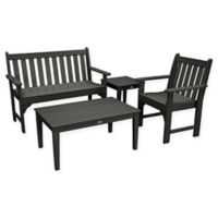 POLYWOOD® Vineyard 4-Piece Patio Bench Seating Set in Black