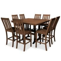 POLYWOOD® Vineyard 9-Piece Nautical Trestle Bar Set in Teak
