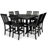 POLYWOOD® Vineyard 9-Piece Nautical Trestle Bar Set in Black