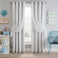 Sparkle 108-Inch Grommet Blackout Layered Sheer Window Curtain Panel in White