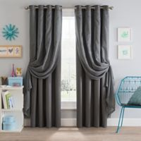 Sparkle 108-Inch Grommet Blackout Layered Sheer Window Curtain Panel in Grey