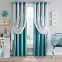 Sparkle 108-Inch Grommet Blackout Layered Sheer Window Curtain Panel in Aqua