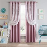 Sparkle 108-Inch Grommet Blackout Layered Sheer Window Curtain Panel in Pink