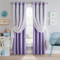 Sparkle 108-Inch Grommet Blackout Layered Sheer Window Curtain Panel in Lavender