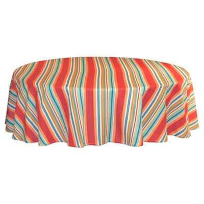 Mystic Stripe 60 Inch Round Tablecloth In Aqua