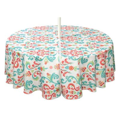 Odesa 70 Inch Indoor/Outdoor Round Tablecloth With Umbrella Hole